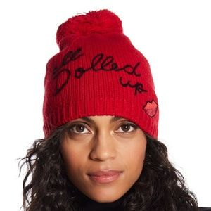 NWT Kate Spade All Dolled Up Pompom Red Beanie